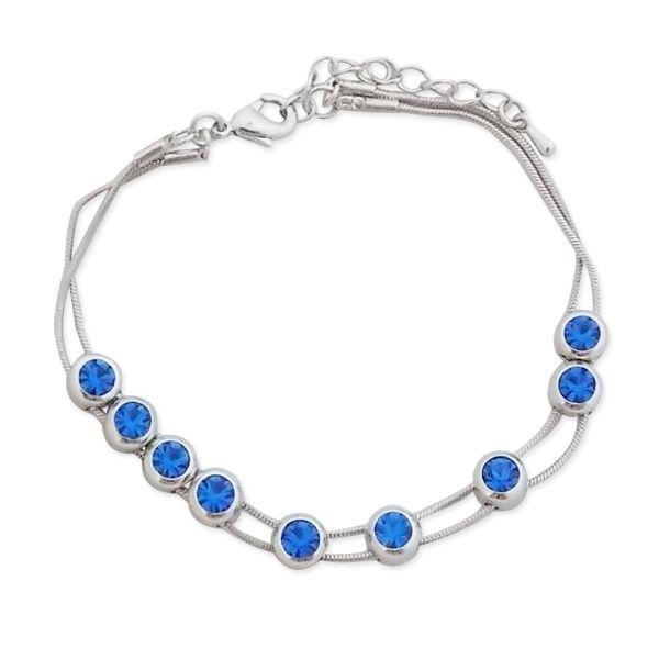 Totalcadeau - Bracelet double cordelette aux faux cristaux bleu roi bijou  fantaisie pas cher 13157554dd7c