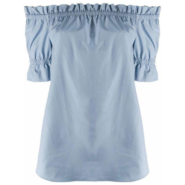 MICHAEL KORS Femme Ms04M1AE5Y424 Bleu Claire Coton Blouse