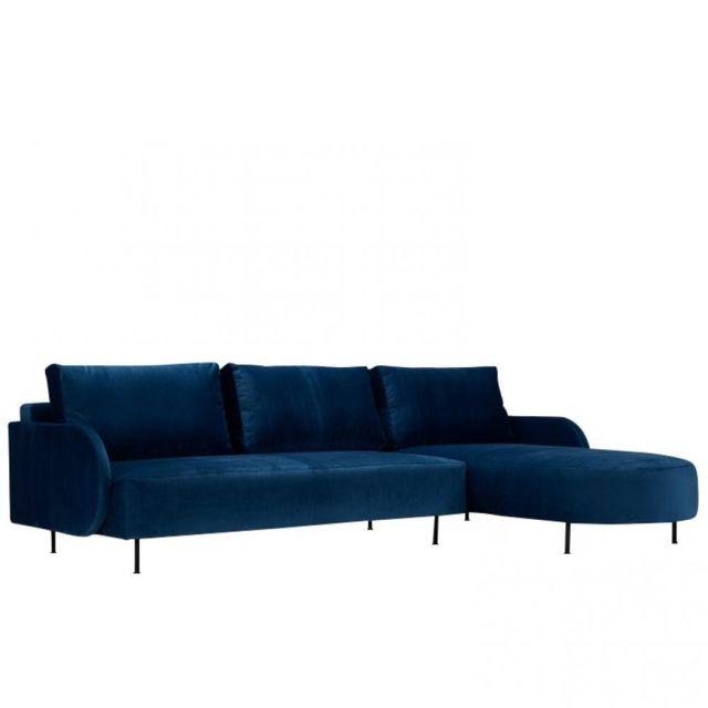 Inside 75 Canapé d'angle droit Alfa Round 3 places velours bleu foncé pieds métal