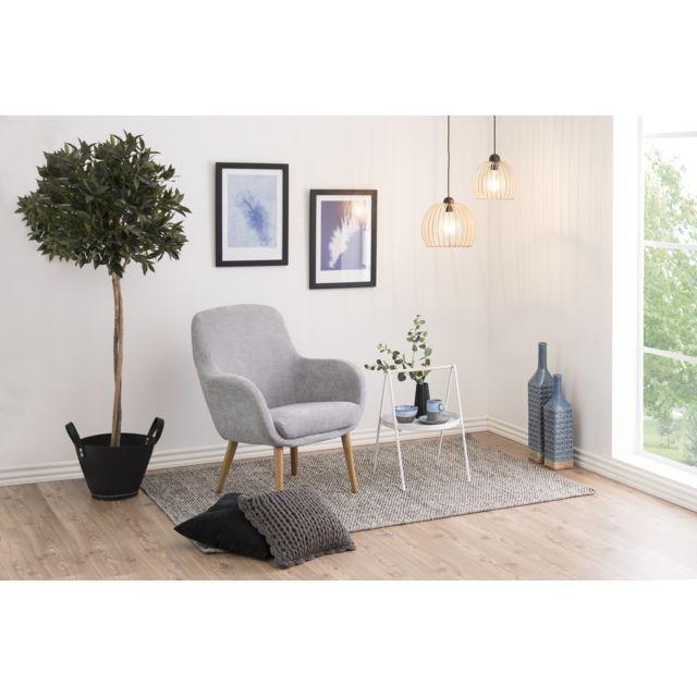 HELLIN Fauteuil tissus et pieds en bois clair - SALLY