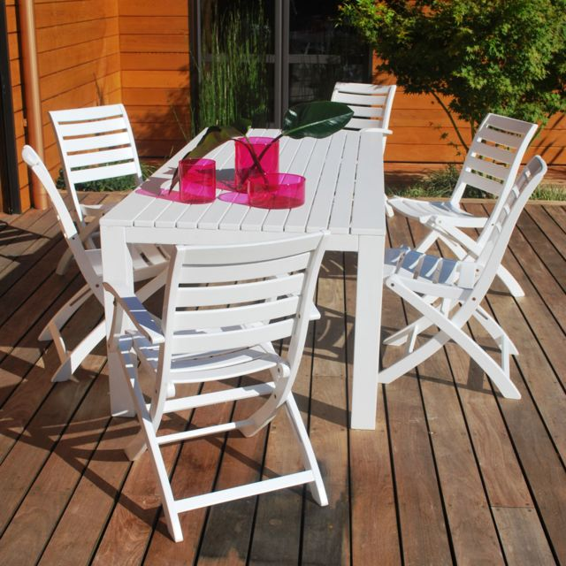 Proloisirs - Table de jardin rectangulaire Eucalyptus Fsc blanc ...