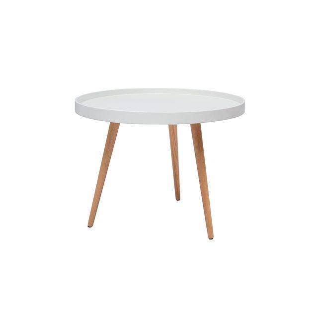 Table basse ronde 60diam en bois blanc