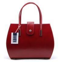 Oh My Bag - Sac à main cuir femme - Modèle Croisette rouge foncé