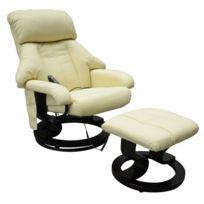 HOMCOM - Fauteuil de massage relaxation chauffage electrique repose-pied crème
