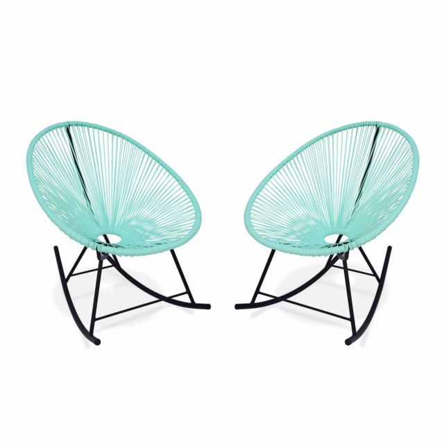 ALICE'S GARDEN Ensemble de 2 fauteuils à bascule Acapulco chaise oeuf design rétro rocking Vert d'eau