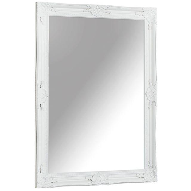 Comforium Miroir baroque 105 cm en bois coloris blanc