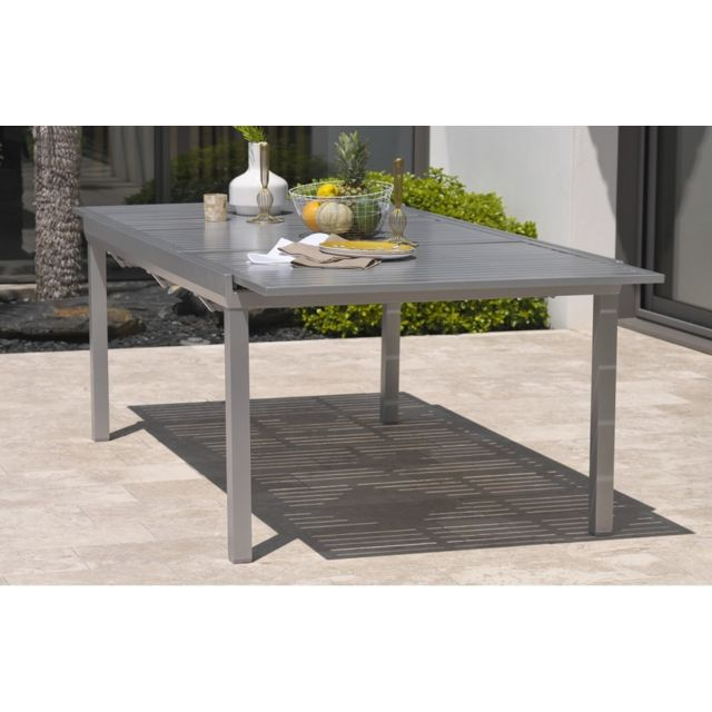 DCB GARDEN Table aluminium 8-10 places gris galet
