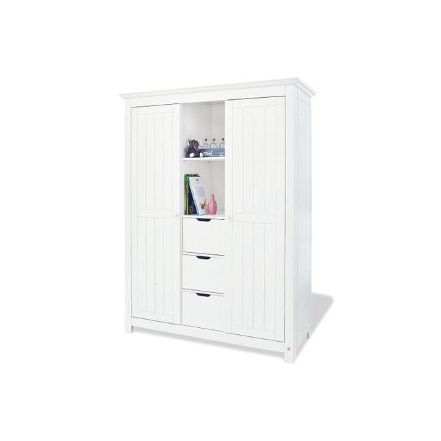 Comforium Armoire à 2 portes 189 cm avec 3 tiroirs et 2 niches en bois massif coloris blanc