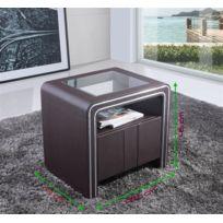 Table De Nuit Design Moderne.Table De Chevet Design En Simili Cuir Vi Marron