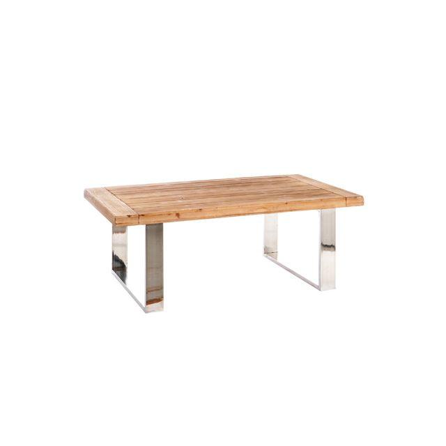 Table basse bois naturel et pieds arc métal argenté 120x45x70cm