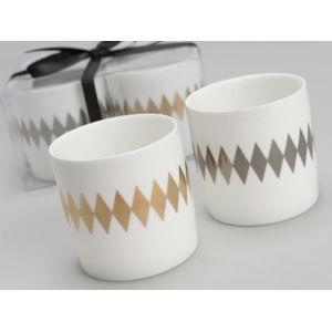 Amadeus - Photophore en porcelaine motif losange doré et argent D.7cm - Set de 2 assortis Litt Blanc
