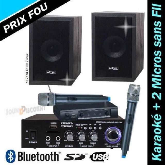 Ibiza Sound Pack karaoke ks22 / star2 avec ampli - enceintes - 2 micros sans fil - usb bluetooth mp3 pa-dj