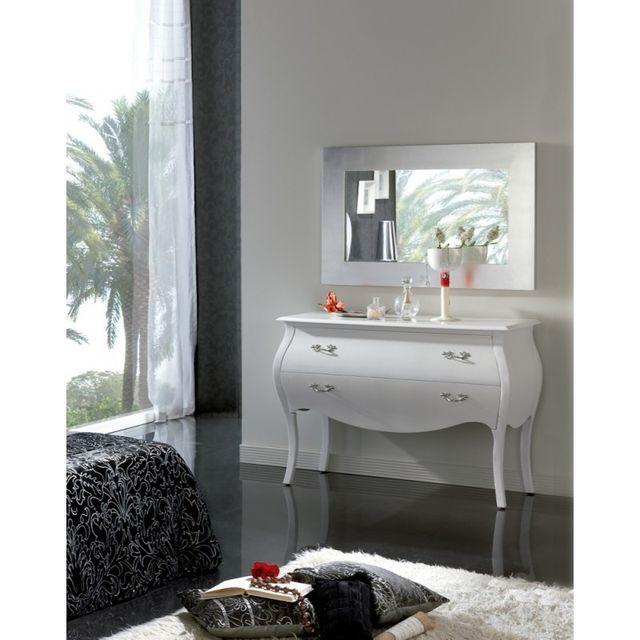 Ma Maison Mes Tendances Commode 2 tiroirs en bois laqué satiné blanc Alice - L 112 x l 49 x H 82