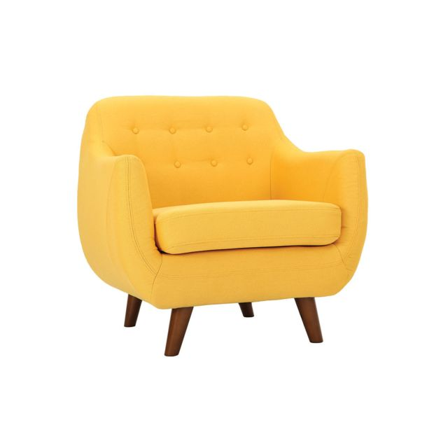Miliboo Fauteuil design déhoussable jaune Ynok