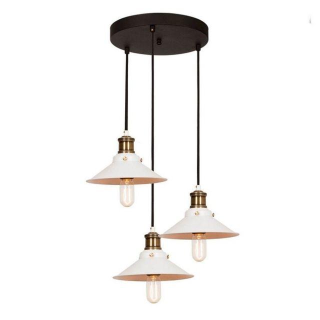 Homemania Lampe à Suspension Multiple Pendant - Plafonnier - Murale - Noir, Blanc en Métal, 45 x 45 x 108 cm, 3 x E27, Max 100 W