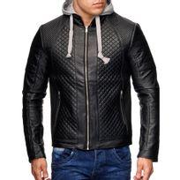 Monsieurmode - Veste en cuir à capuche homme Veste fashion 21 noir