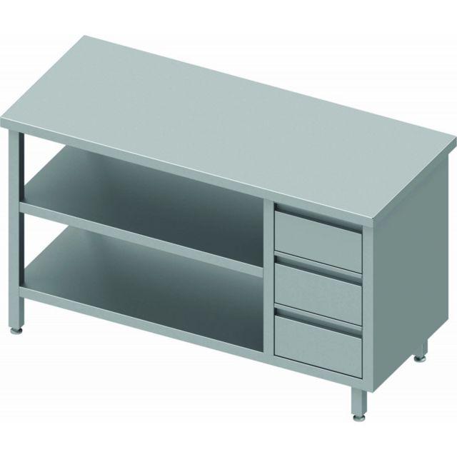 Materiel Chr Pro Table Inox Avec 3 Tiroirs & 2 Etagères à Gauche - Sans Dosseret - Gamme 800 - Stalgast - inox 800x800 800