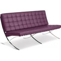 Privatefloor - Canapé design Barcelona - Inspiration Mies Van Der Rohe - 3 places - Simili Cuir Mauve