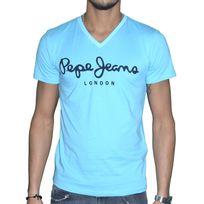 Pepe Jeans - T Shirt Manches Courtes - Homme - Original Stretch V - Broadway Bleu