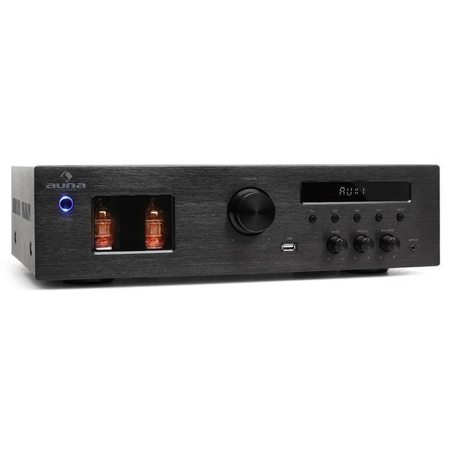 AUNA Tube 65 Ampli Hifi à tubes avec tuner radio MP3 USB 2 x 60W RMS, 600W max