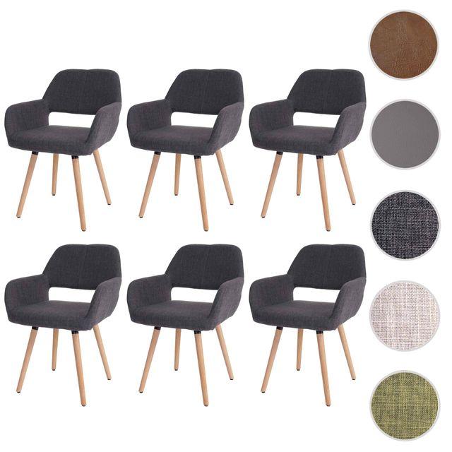 Mendler 6x chaise de salle à manger Altena Ii, fauteuil, design rétro des années 50 ~ tissu, gris