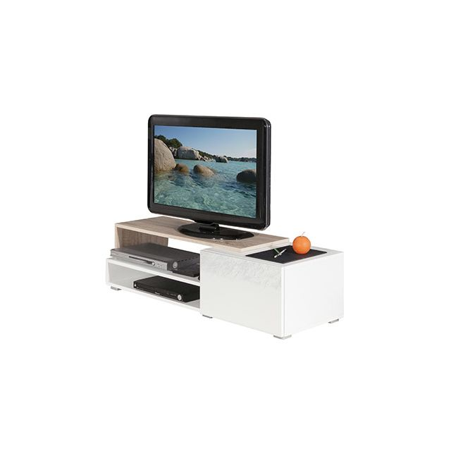Meuble tv 1 tiroir blanc chêne naturel 120 cm