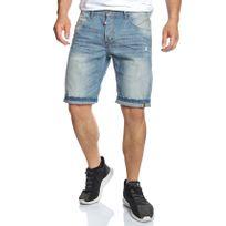 Mode Labs - Mh Studio - Short en jean bleu clair délavé et griffé