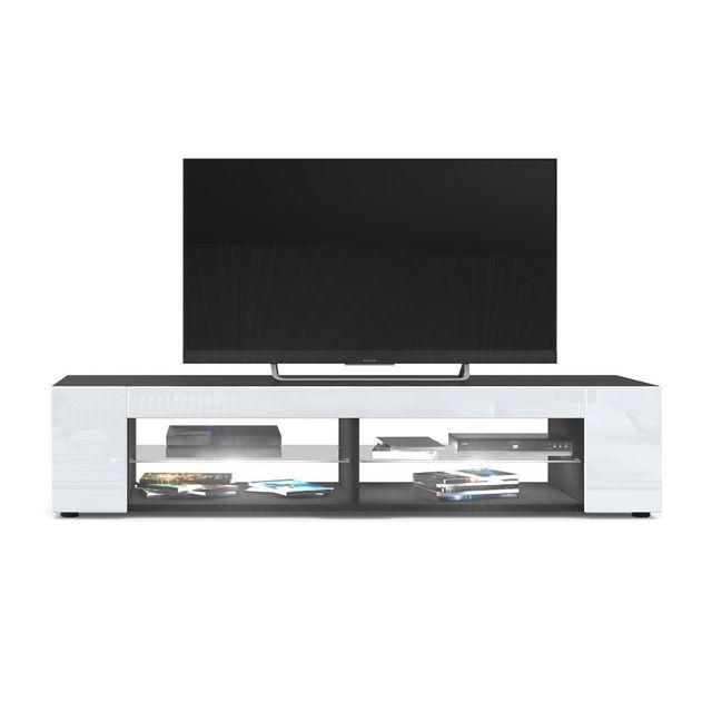 Mpc Meuble Tv Noir mat Façades en Blanc laquées led Blanc