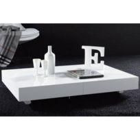 Blanc Design Relevable Table Brillant Block Basse Extensible wOPilXukZT