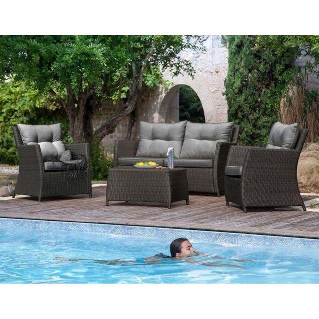 PROLOISIRS Salon détente résine tressée 2 fauteuils + 1 canapé + 1 table Ice