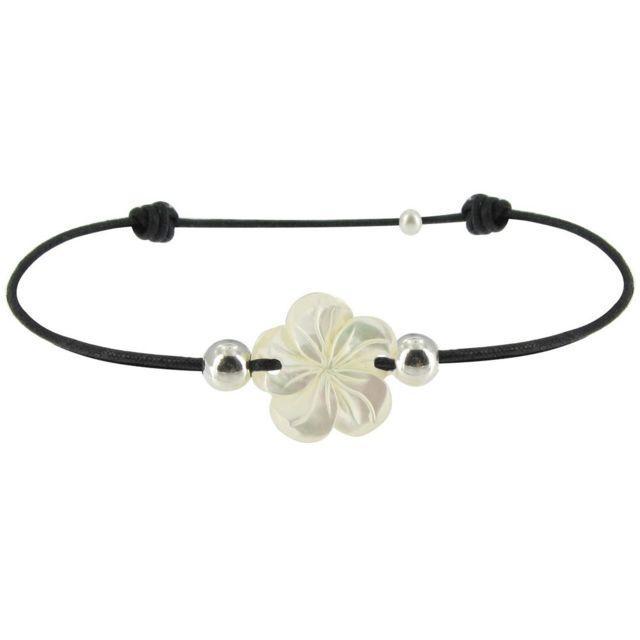 Les Poulettes Bijoux - Bracelet Lien Fleur de Nacre Ivoire et Perles d'Argent - Classics - Noir