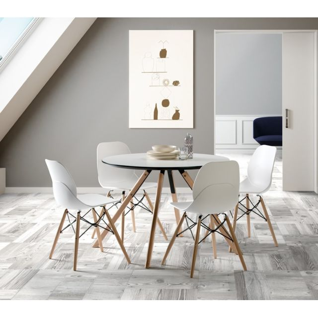 Tousmesmeubles Table de repas Ronde 120 cm - Hector - L 120 x l 120 x H 73