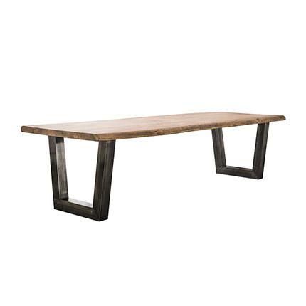 Table à manger 200cm en acacia massif et inox brossé noir