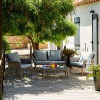 Alinéa - Excalibur Salon de jardin gris effet rotin tressé style bohème 4 places