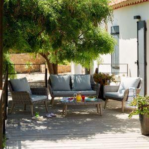 Alinéa - Excalibur Salon de jardin gris effet rotin tressé style ...