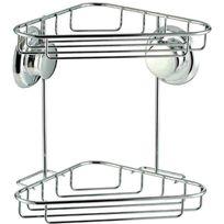 Galedo - Double étagère en angle - métal - sans perçage