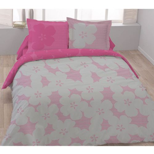 dourev parure de lit 4 pi ces lilly pour lit deux personnes gris rose 300cm x 240cm pas. Black Bedroom Furniture Sets. Home Design Ideas