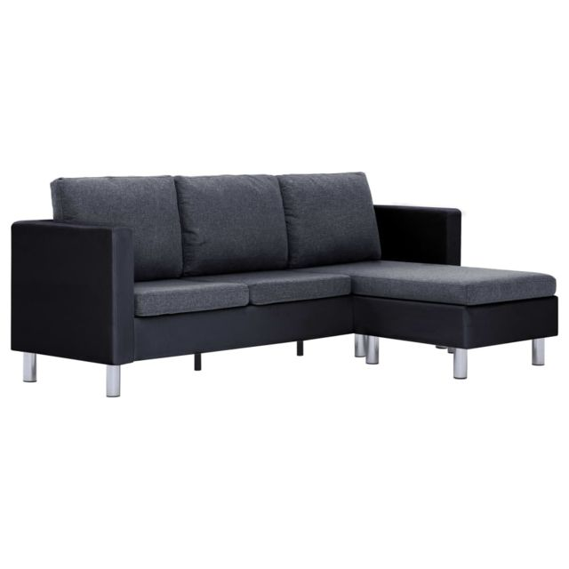 Icaverne - Canapés gamme Canapé à 3 places avec coussins Noir Similicuir