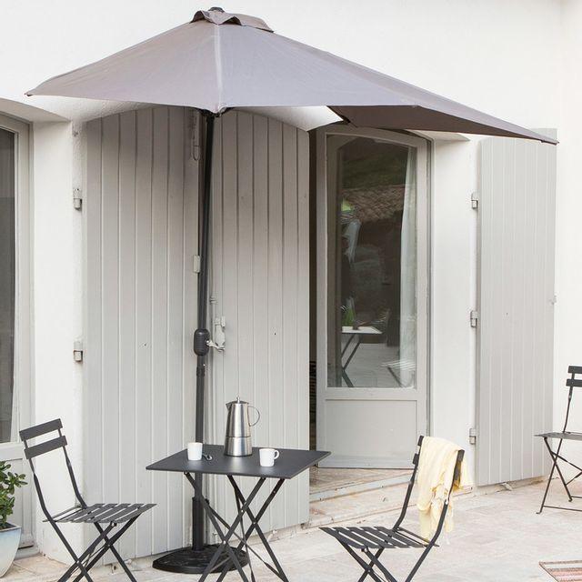 Les essentiels by dlm demi parasol de balcon rectangulaire en aluminium avec manivelle 230x130cm