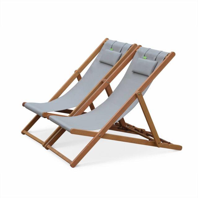 ALICE'S GARDEN ensemble de 2 bains de soleil creus, transat en eucalyptus FSC et textilene gris taupe avec coussin repose tête
