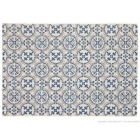 Mathilde Et Pauline - Tapis 100% polypropylène effet sisal carreaux de ciment Rosa - Sable/Bleu - 60x110cm