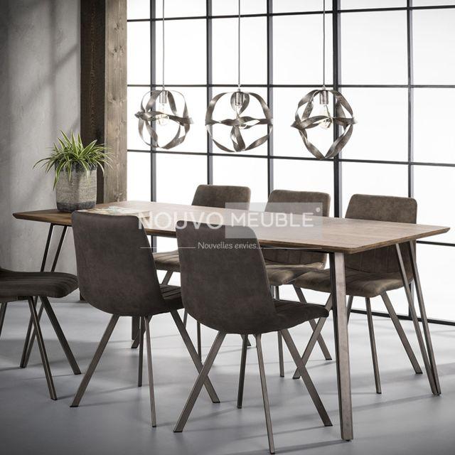 Nouvomeuble Table à manger couleur bois Daytona