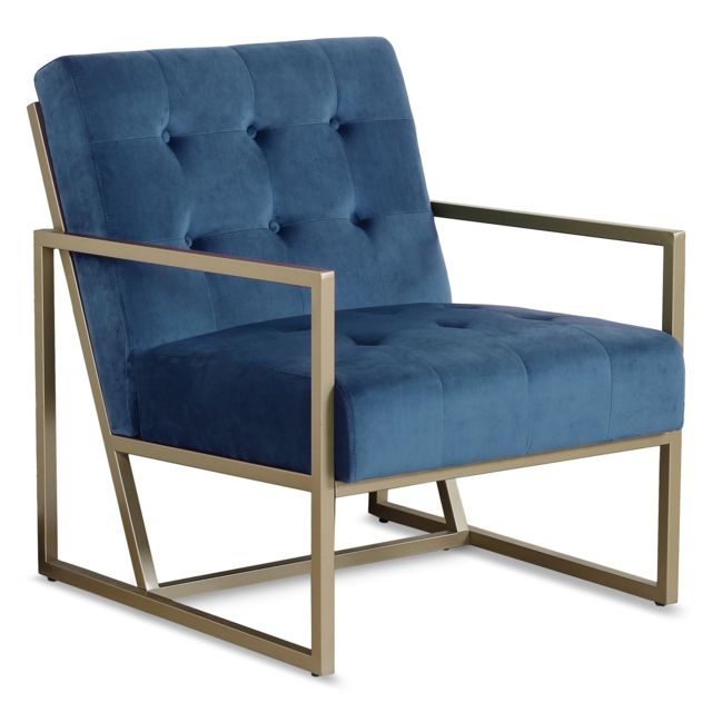 MENZZO Fauteuil Texas velours Bleu pieds Or
