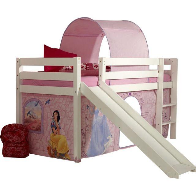 comforium lit sur lev avec toboggan 90x200 et tente de jeu princesse1 pas cher achat. Black Bedroom Furniture Sets. Home Design Ideas