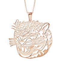 1001BIJOUX - Collier argent dorure rose gros pendentif tête jaguard 40+10cm