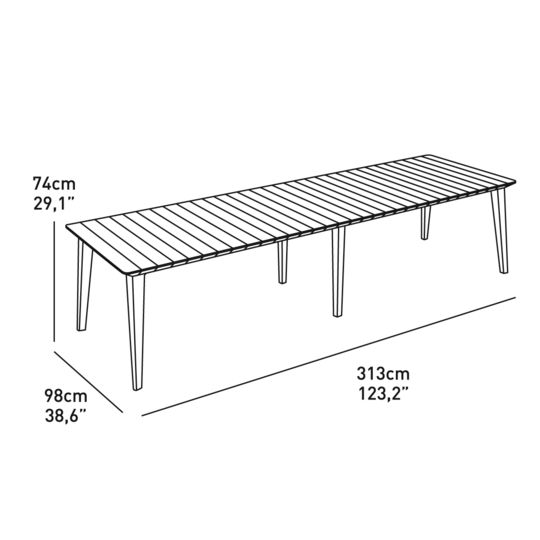 Table de jardin rectangulaire Lima extensible - Graphite. à ...