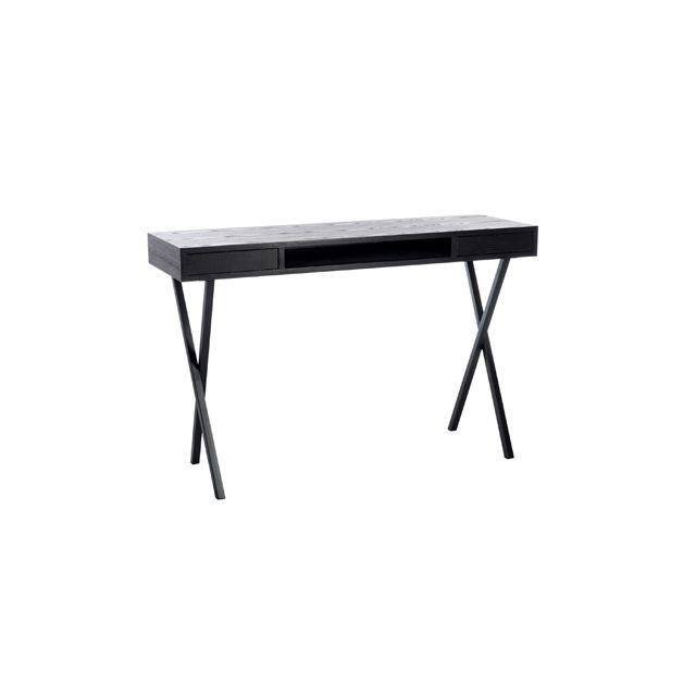 Bureau 2 tiroirs pieds croix bois noir-métal noir 120x40x77cm