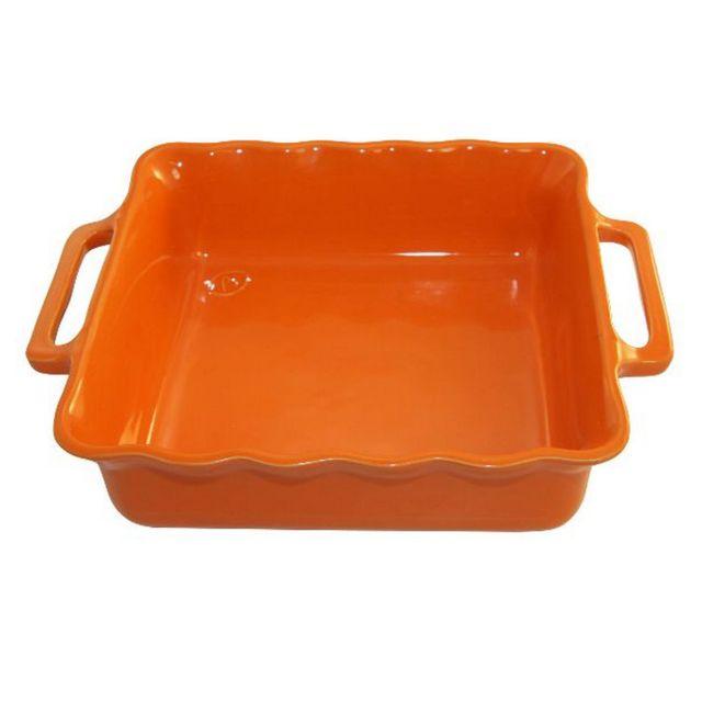 APPOLIA plat carré céramique 34.5cm mandarine - 140034573