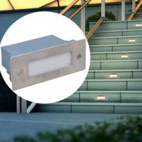 2 Luminaires Led Encastres Pour Escalier 44 X 111 X 56 Mm Argent