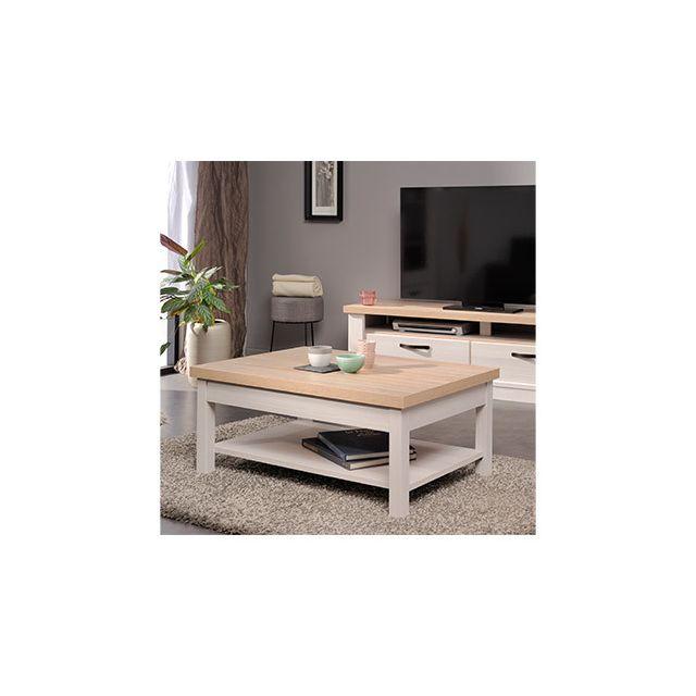 Table basse 91,80x40x63cm en décor bois blanchi